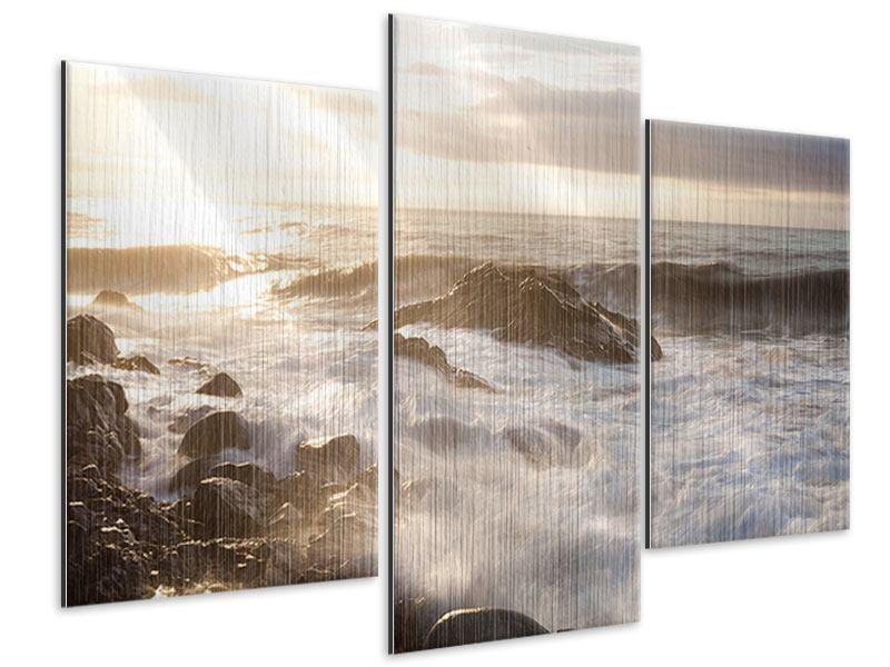 Metallic-Bild 3-teilig modern Meeresbrandung