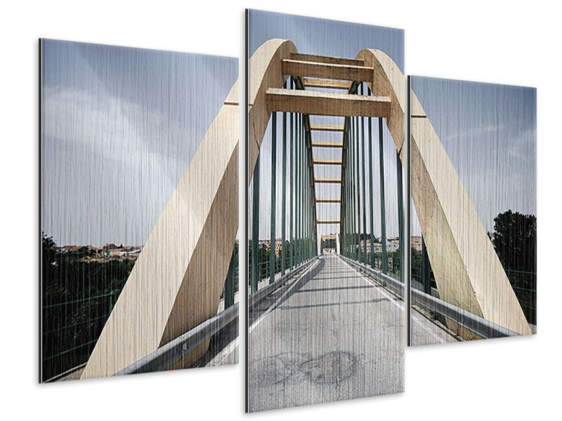 Metallic-Bild 3-teilig modern Imposante Hängebrücke