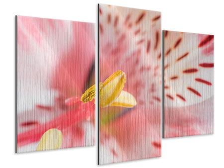 Metallic-Bild 3-teilig modern Der Lilienstempel
