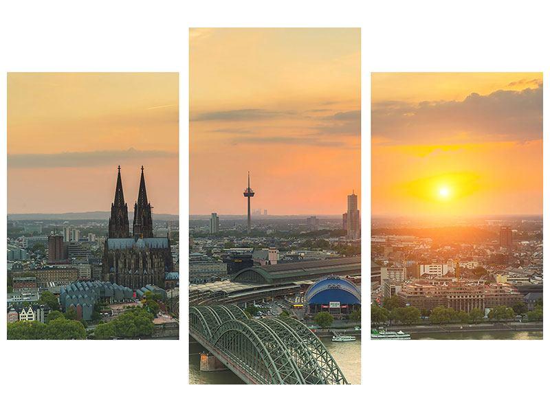Metallic-Bild 3-teilig modern Skyline Köln bei Sonnenuntergang