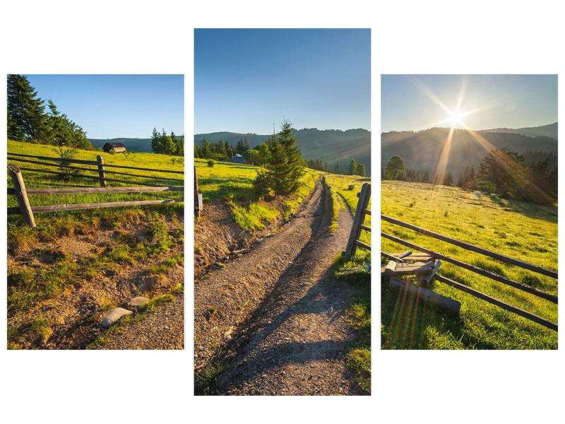 Metallic-Bild 3-teilig modern Sonnenaufgang am Berg