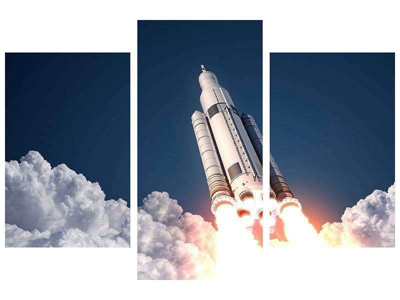 Metallic-Bild 3-teilig modern Raketenstart