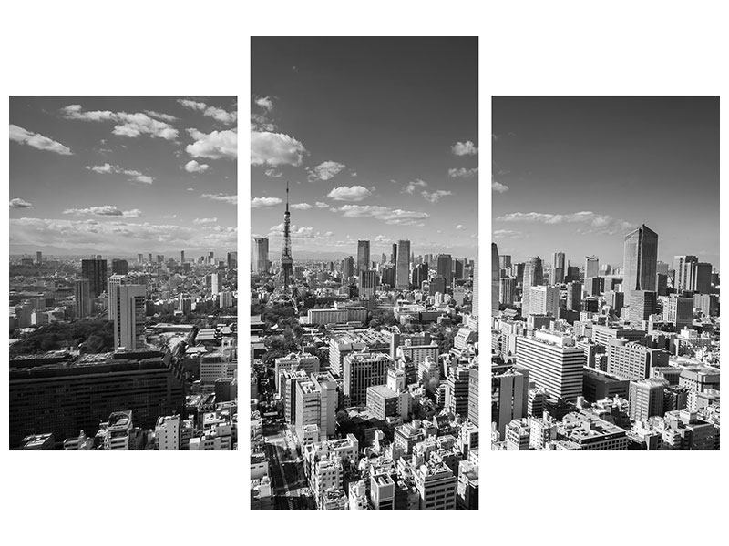 Metallic-Bild 3-teilig modern Tokio