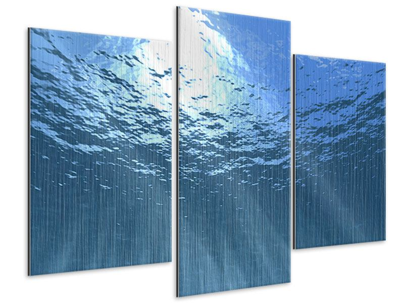 Metallic-Bild 3-teilig modern Sonnenstrahlen unter Wasser