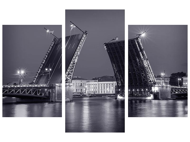 Metallic-Bild 3-teilig modern Klappbrücke bei Nacht