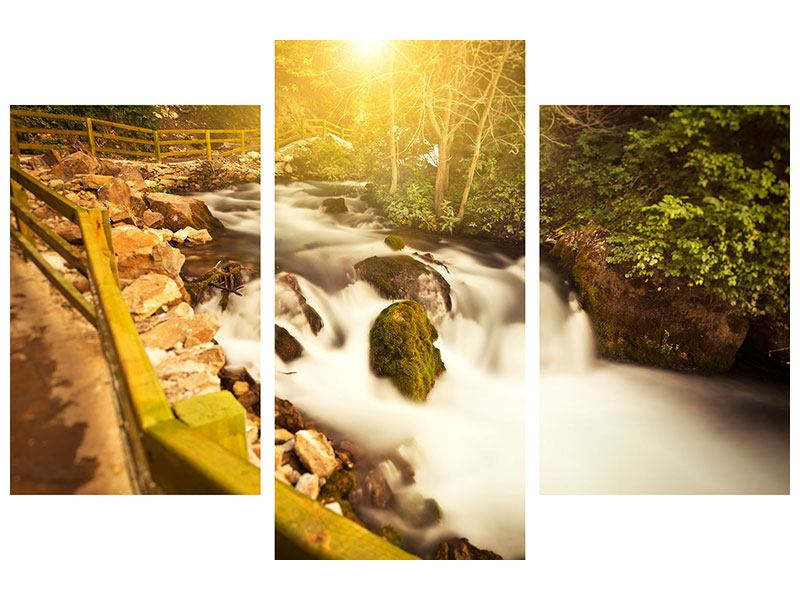 Metallic-Bild 3-teilig modern Sonnenuntergang am Wasserfall