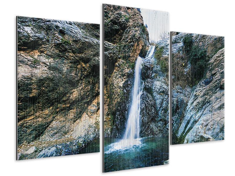 Metallic-Bild 3-teilig modern Bewegtes Wasser