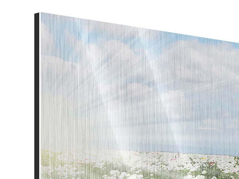 Metallic-Bild 3-teilig modern Die Frühlingsblumenwiese