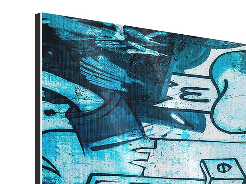 Metallic-Bild 3-teilig modern Graffiti