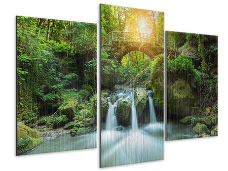 Metallic-Bild 3-teilig modern Wasserspiegelungen