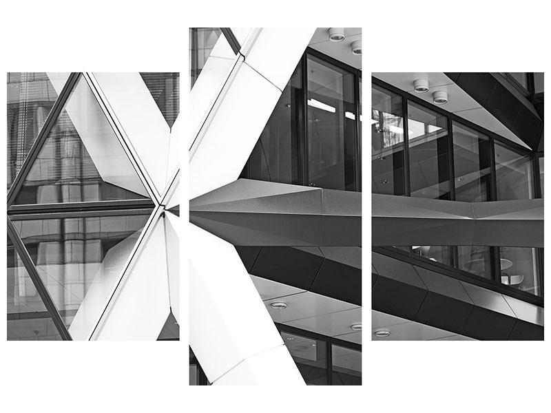 Metallic-Bild 3-teilig modern Teil eines Wolkenkratzers