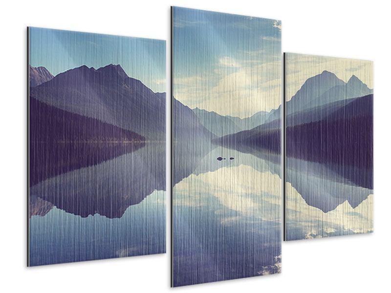 Metallic-Bild 3-teilig modern Bergspiegelung