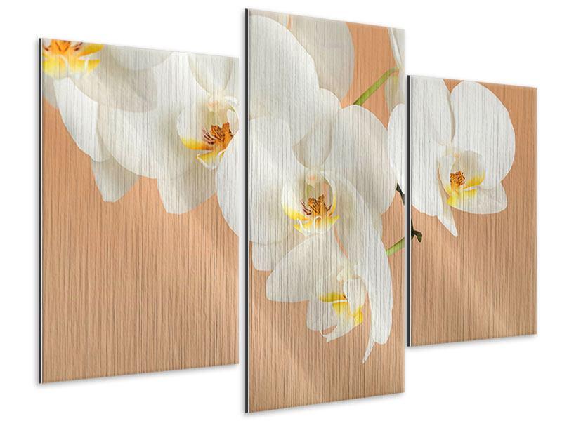 Metallic-Bild 3-teilig modern Weisse Orchideenblüten