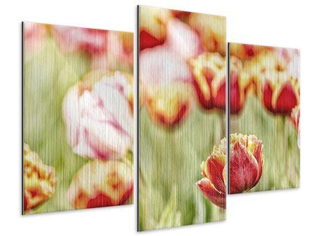 Metallic-Bild 3-teilig modern Die Schönheit der Tulpe