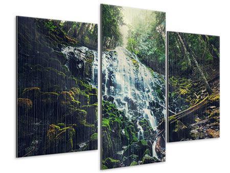 Metallic-Bild 3-teilig modern Feng Shui & Wasserfall