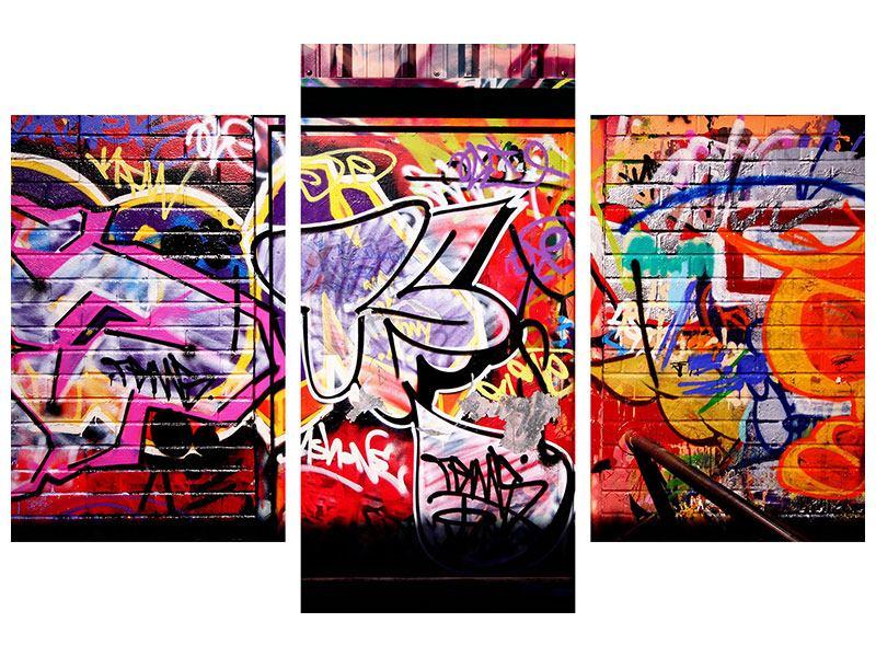 Metallic-Bild 3-teilig modern Graffiti Kunst