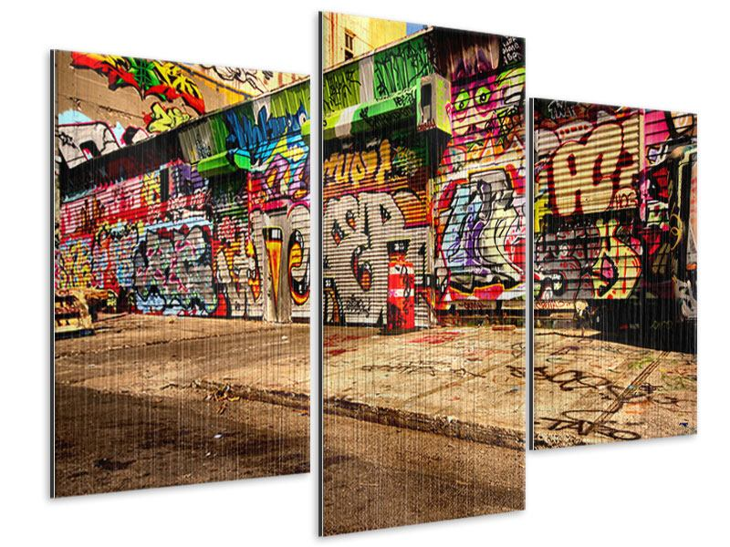 Metallic-Bild 3-teilig modern NY Graffiti