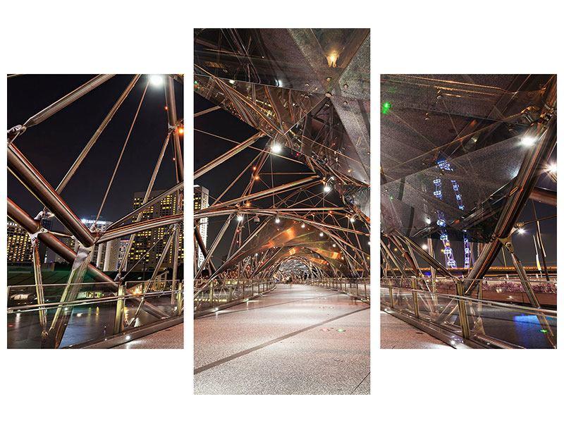 Metallic-Bild 3-teilig modern Brückenlichter