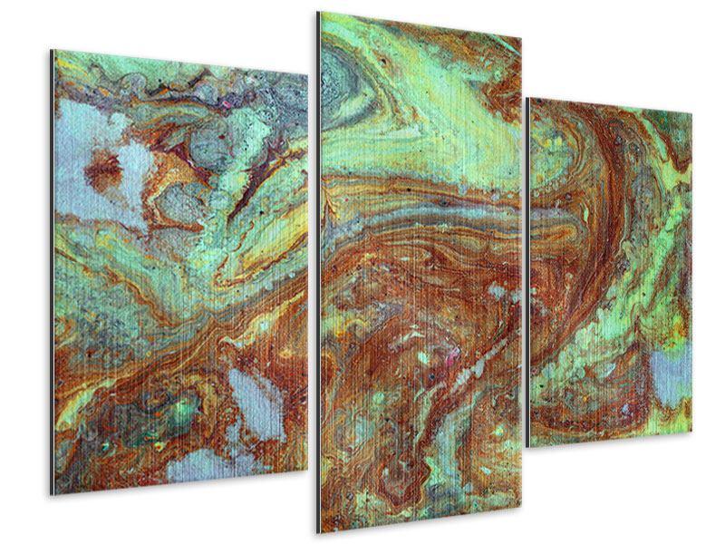 Metallic-Bild 3-teilig modern Marmor in Grün