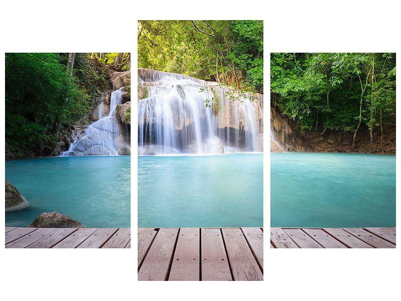 Metallic-Bild 3-teilig modern Terrasse am Wasserfall