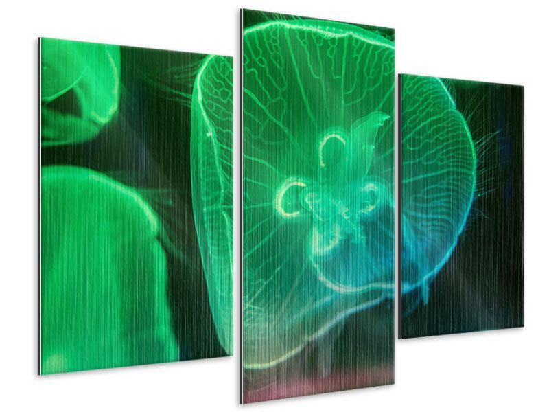 Metallic-Bild 3-teilig modern Quallen im Licht