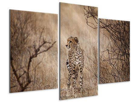 Metallic-Bild 3-teilig modern Eleganter Gepard