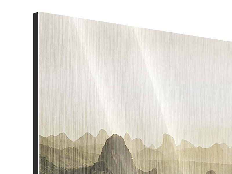 Metallic-Bild 3-teilig modern Die Berge von Xingping