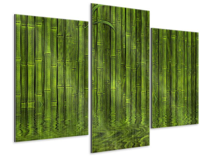 Metallic-Bild 3-teilig modern Wasserspiegelung Bambus