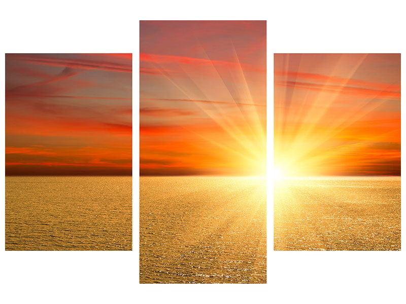 Metallic-Bild 3-teilig modern Der Sonnenuntergang