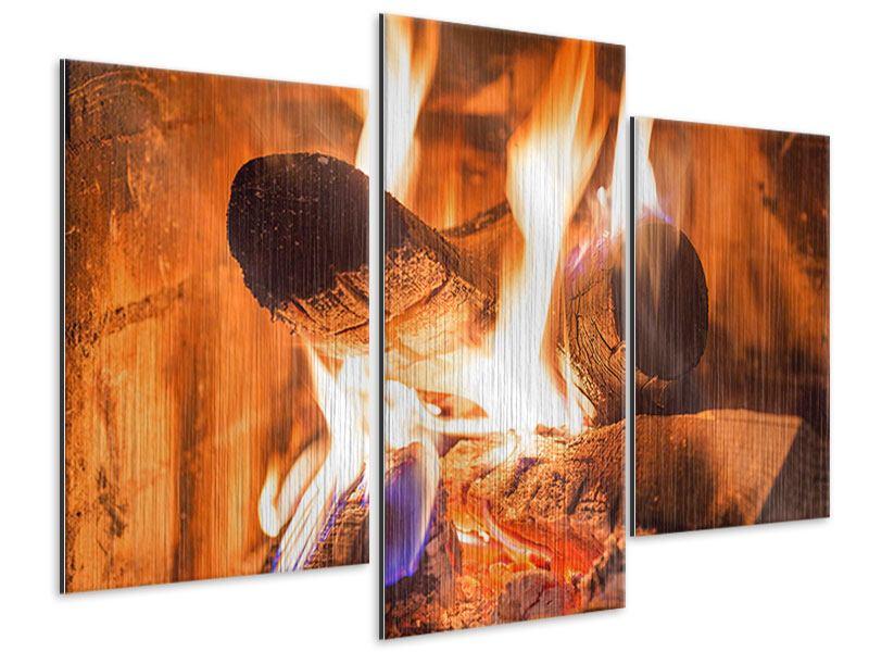 Metallic-Bild 3-teilig modern Kaminfeuer