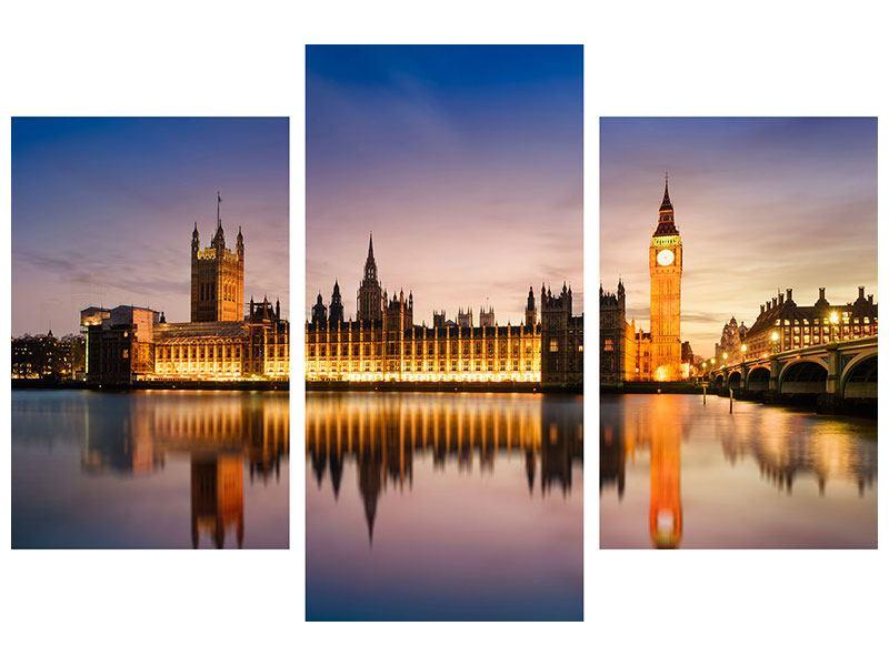 Metallic-Bild 3-teilig modern Big Ben in der Nacht