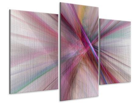 Metallic-Bild 3-teilig modern Abstraktes Lichterleuchten