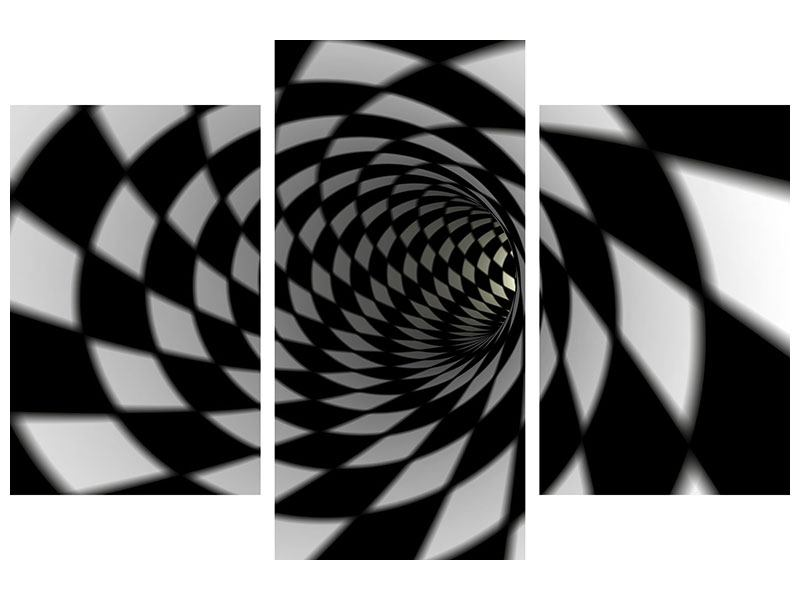 Metallic-Bild 3-teilig modern Abstrakter Tunnel Black & White