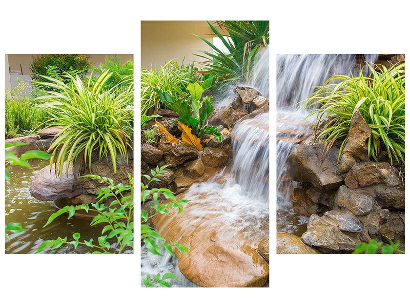 Metallic-Bild 3-teilig modern Paradiesgarten