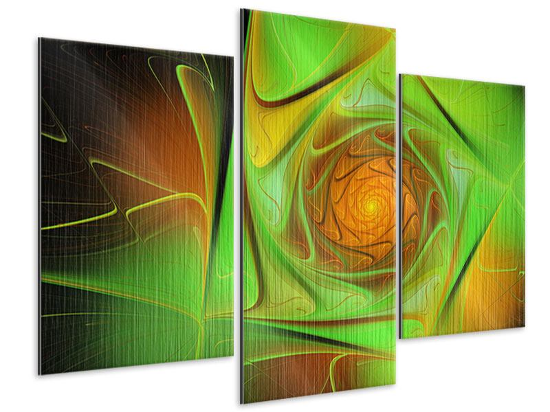 Metallic-Bild 3-teilig modern Abstraktionen