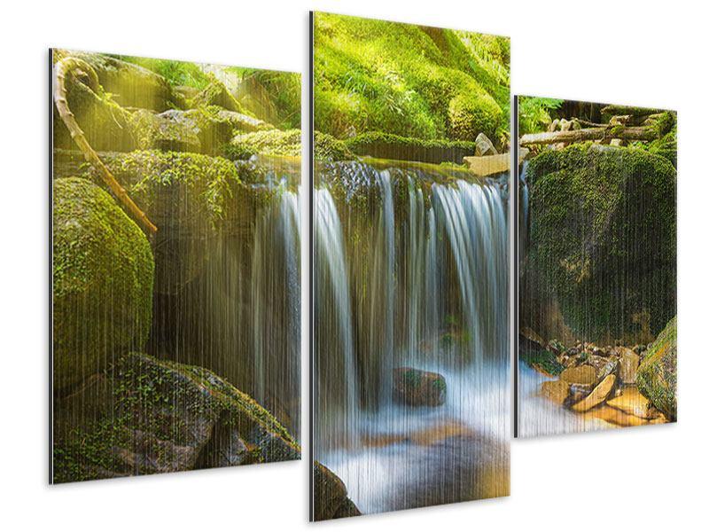 Metallic-Bild 3-teilig modern Schönheit des fallenden Wassers