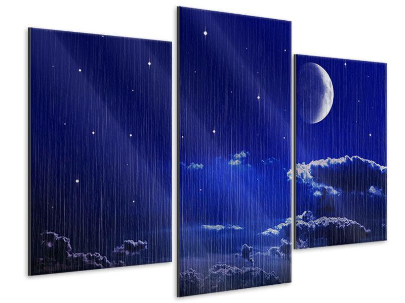 Metallic-Bild 3-teilig modern Der Nachthimmel
