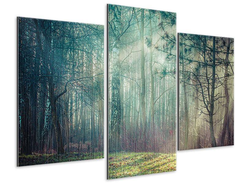 Metallic-Bild 3-teilig modern Pinienwald