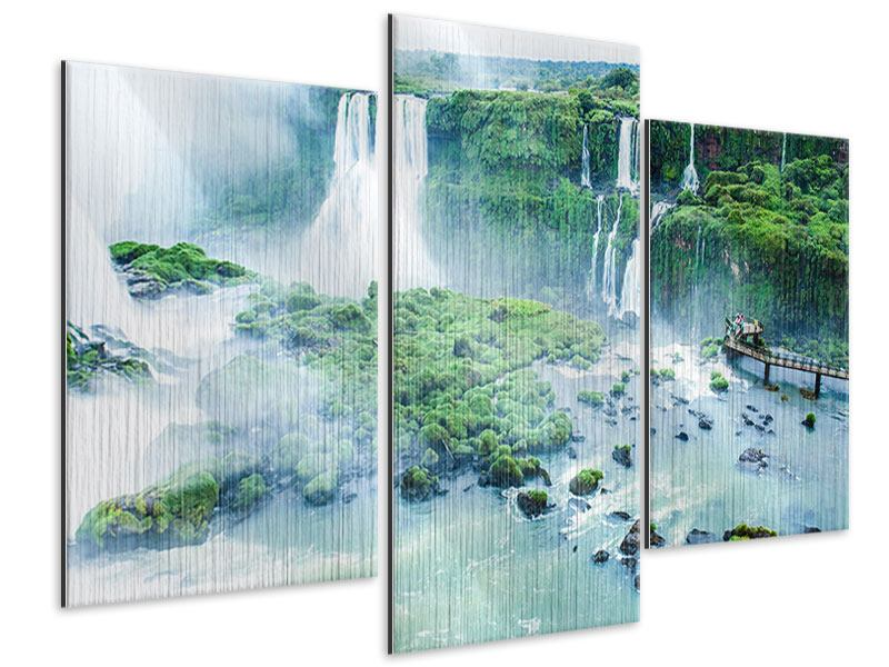 Metallic-Bild 3-teilig modern Wasserfälle