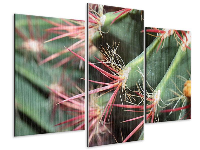 Metallic-Bild 3-teilig modern Die Kaktusblüte