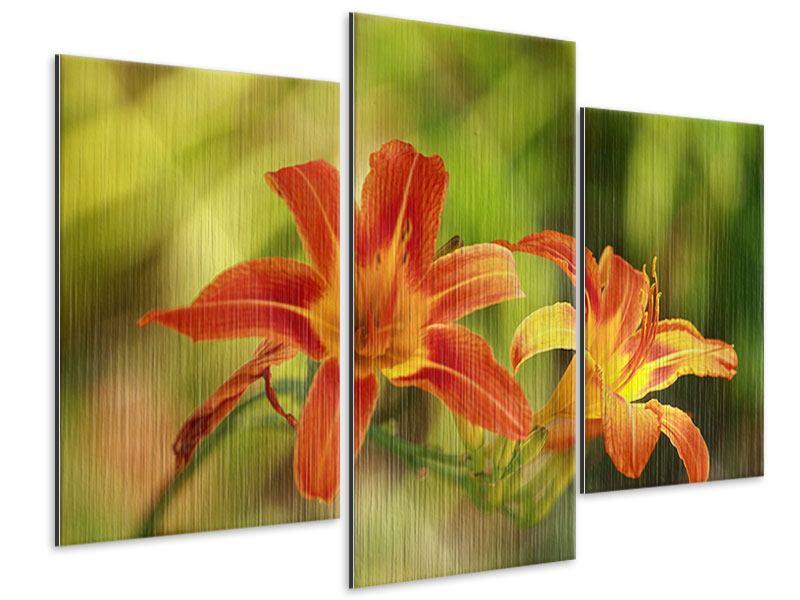 Metallic-Bild 3-teilig modern Natural Lilien