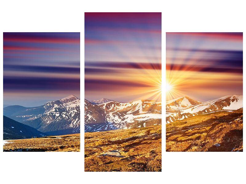 Metallic-Bild 3-teilig modern Majestätischer Sonnuntergang am Berggipfel