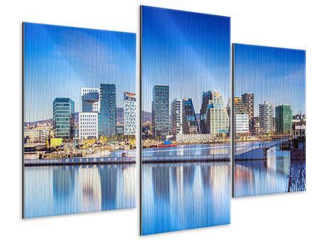 Metallic-Bild 3-teilig modern Skyline Oslo