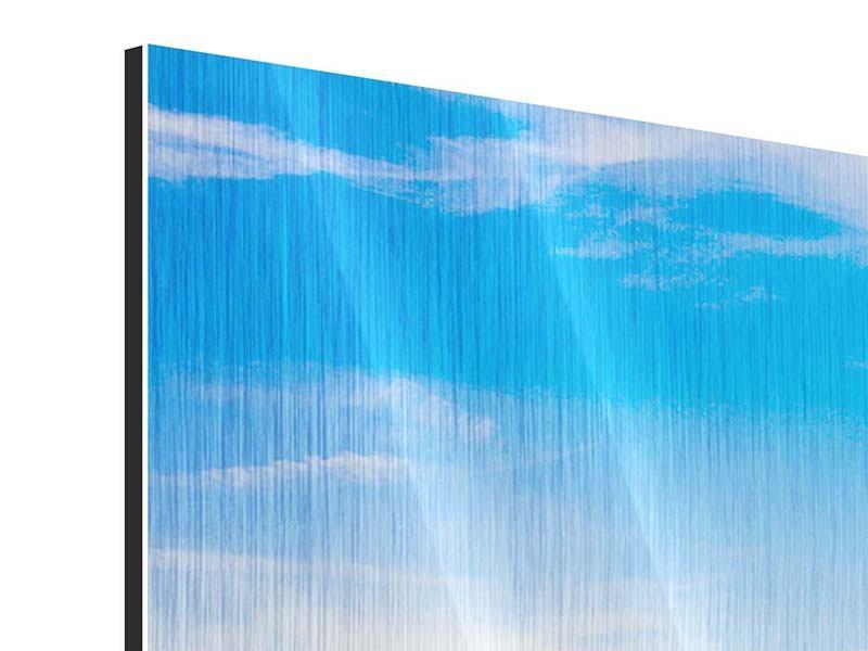 Metallic-Bild 3-teilig modern Sitzbank mit Bergpanorama