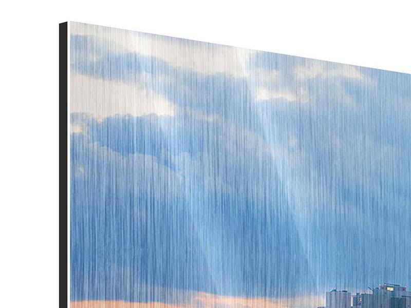 Metallic-Bild 3-teilig modern Skyline Frankfurt am Main