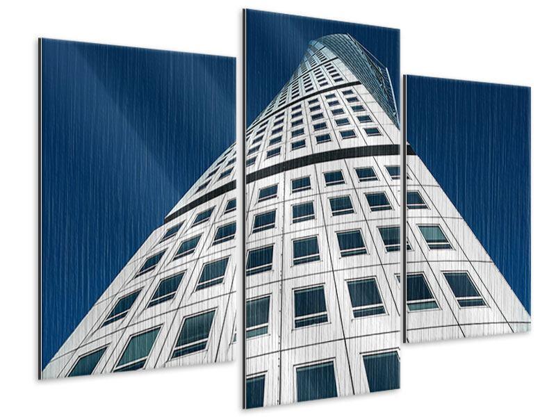 Metallic-Bild 3-teilig modern Meisterstück Wolkenkratzer