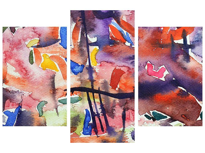 Metallic-Bild 3-teilig modern Aquarell