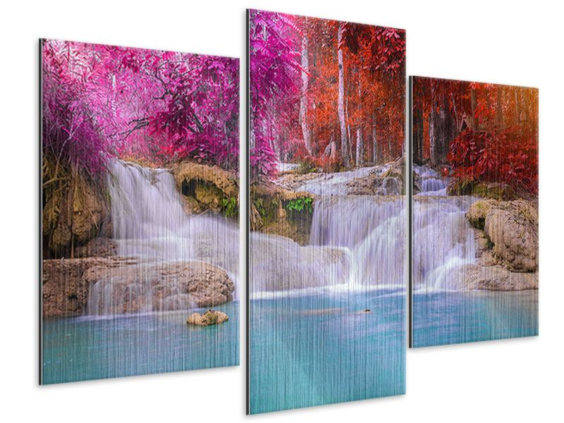 Metallic-Bild 3-teilig modern Paradiesischer Wasserfall
