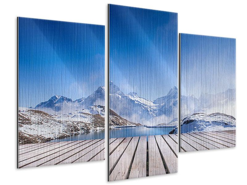 Metallic-Bild 3-teilig modern Sonnenterrasse am Schweizer Bergsee