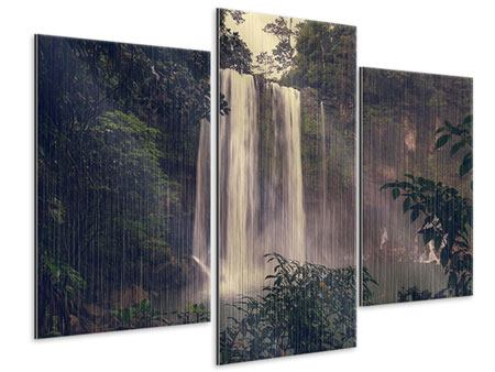 Metallic-Bild 3-teilig modern Wasserfall in Mexiko